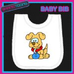 CUTE DOG WHITE BABY BIB PRINTED DESIGN
